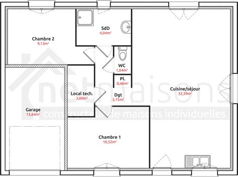 Plan Maison 2 Chambres - modele maison plain pied 2 chambres segu maison