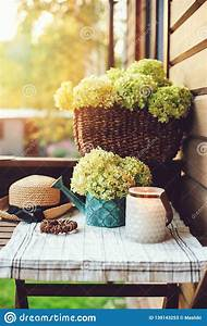 Summer, Porch, Decoration, With, Flowers, And, Candles, Romantic, Evening, At, Wooden, Cottage, Stock, Image