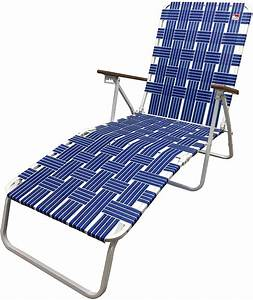 Outdoor, Spectator, Classic, Webbed, Folding, Chaise, Lounger, Camp, Lawn, Chair, Blue