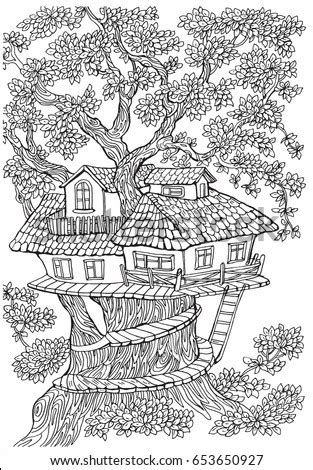 coloring pages kids adults tree house stock vector  shutterstock