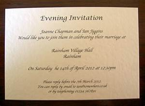 personalised wedding day evening reception invitations With wedding invitations for the evening