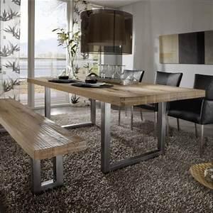 Table bois table de salle a manger en bois avec banc for Table salle a manger en bois
