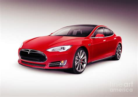 Tesla Model S 2014 Red Luxury Sedan Electric Car