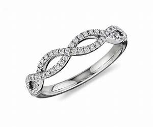 Infinity Twist Micropave Diamond Wedding Ring In 14k White