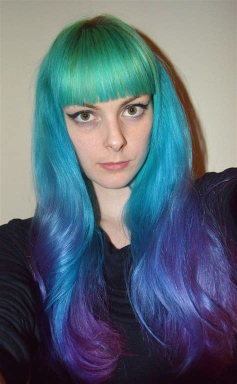 Blue And Purple Rainbow Ombre Hair Dyed Hair And Pastel