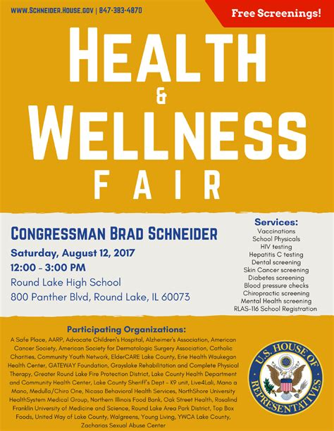 Health And Wellness rep schneider to host health and wellness fair in