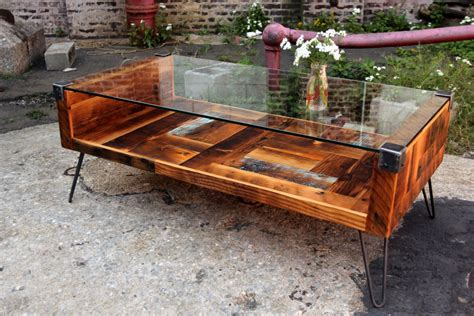 Tisch Holz Glas by Reclaimed Wood Tempered Glass Top Coffee Table Coffee
