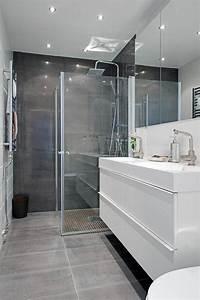 Idee decoration salle de bain une salle de bains en gris for Salle de bain design avec décoration de tables