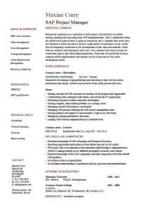 asp net project description in resume sap project manager resume sle description career history cv