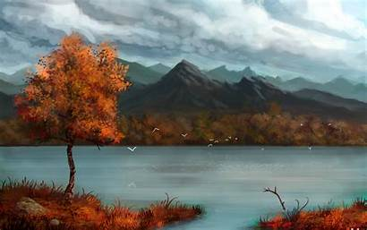 Nature Mountain Fall Painting River Wallpapers Tree