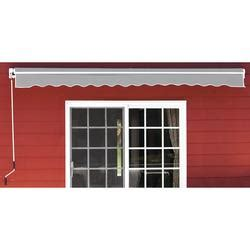 backyard creations     projection gray retractable patio awning  manual operation
