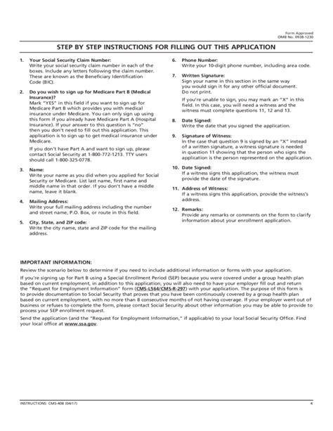 medicare part a form application for enrollment in medicare part b medical