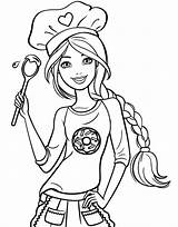 Coloring Barbie Chef Elsa Princess Drawing Cartoon sketch template