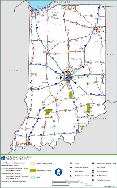 indiana map interstate state usa highways road maps cities ontheworldmap description