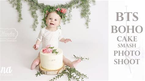 boho cake smash photo shoot bts sharing camera settings