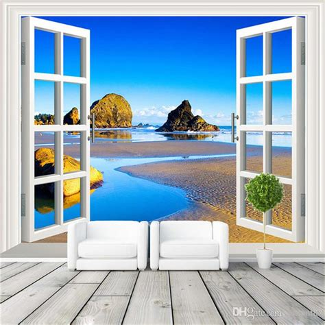 3d Window View Photo Wallpaper Natural Scenery Wall Mural