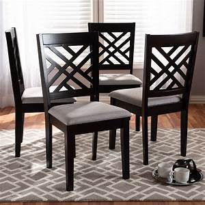 Set, Of, 4, Baxton, Studio, Caron, Modern, And, Contemporary, Gray, Fabric, Upholstered, Espresso, Brown