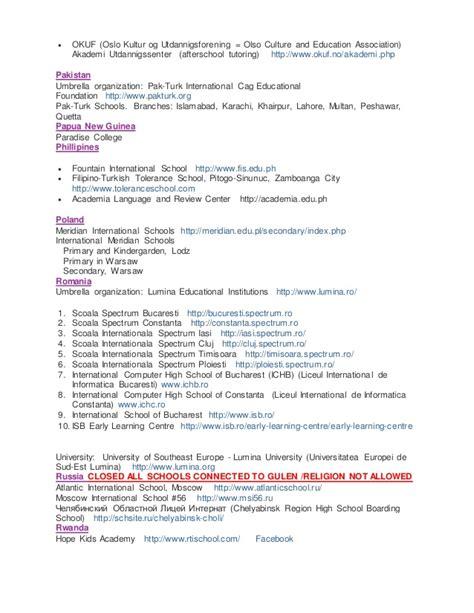gulen schools worldwide list
