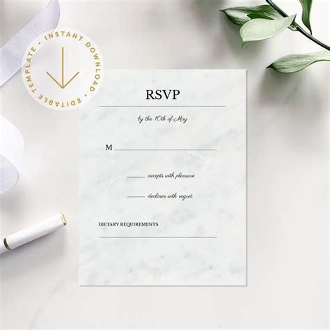 Modern Wedding RSVP Respond Card Template Printable