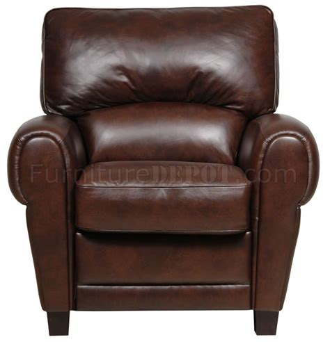 brown choca italian leather classic pushback recliner