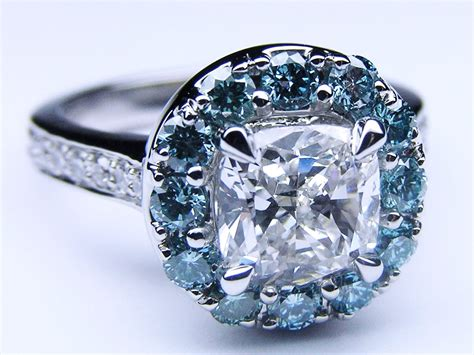 Halo Ring Blue Diamond Halo Rings. Wife Wedding Rings. Prongless Engagement Rings. Marquee Rings. Goddess Rings