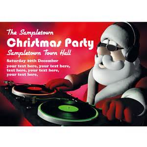 personalised christmas party invites super cool disc jockey santa buzz invites