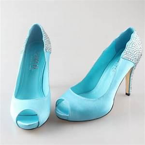 handmade aqua blue turquoise rhinestone heels open peep With dress shoes for wedding party