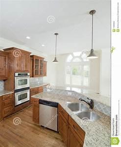 Model Luxury Home Interior Kitchen Double Sink Stock Photo ...