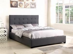 Lit Tissu Gris : lit coffre layton sommier 140cm tissu gris lits 2 places ~ Teatrodelosmanantiales.com Idées de Décoration