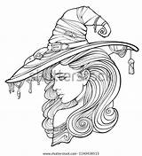 Adults Coloring Witch Surrounded Ghosts sketch template