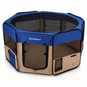 Excelvan portable soft pet puppy kennel dog cat playpen for Portable travel dog crate