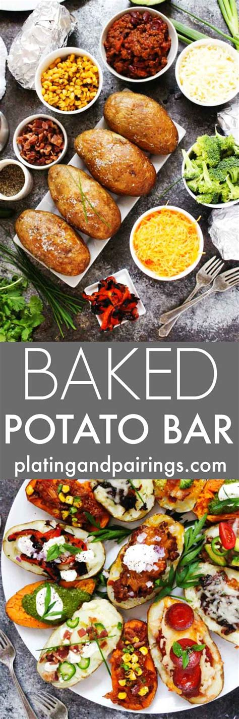baked potato bar side dishes grilled quot baked quot potato bar platings pairings