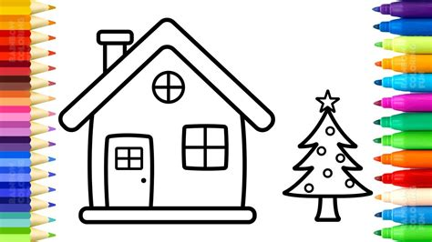 santa house coloring pages   draw  paint