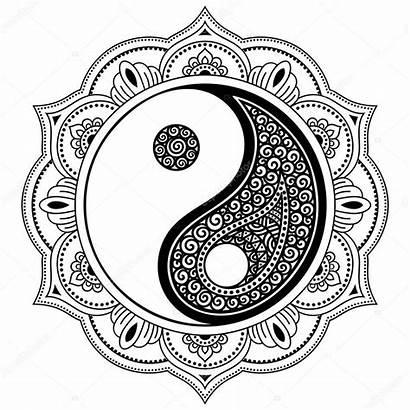 Yang Mandala Yin Coloring Henna Vector Mehndi