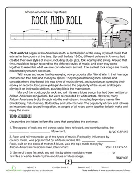 history of rock n roll worksheets history and rock