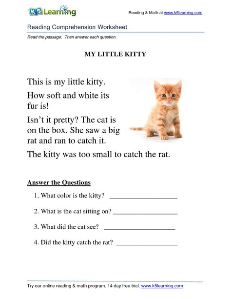 calameo reading comprehension worksheet grade  kitty
