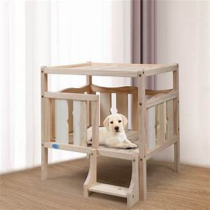 Coziwow, Elevated, Wooden, Dog, Bed, Furniture, With, Flat, Top, And, Ladder, For, Small, Pet, Diy
