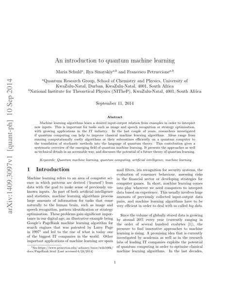 (PDF) An introduction to quantum machine learning