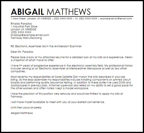 Best Electronic Assembler Resume by Electronic Cover Letter Sle Best Letter Sle