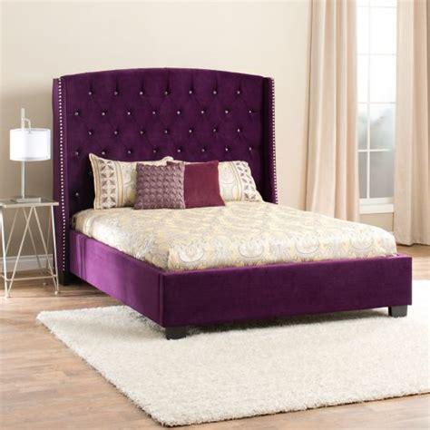 21296 purple upholstered bed upholstered bed eastern king bed in eggplant jerome
