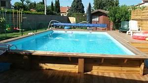 Piscine Semi Enterré Bois : piscine en bois rectangulaire semi enterree piscine bois ~ Premium-room.com Idées de Décoration