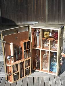 Vintage, Suitcase, Turned, Portable, Bar