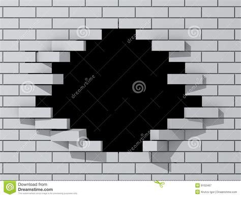 hole  brick wall stock illustration illustration
