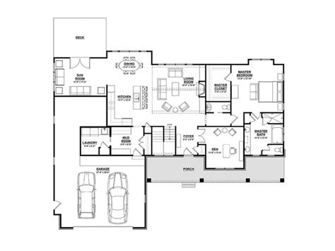eplans ranch house plan open plan ranch  finished walkout basement  square feet