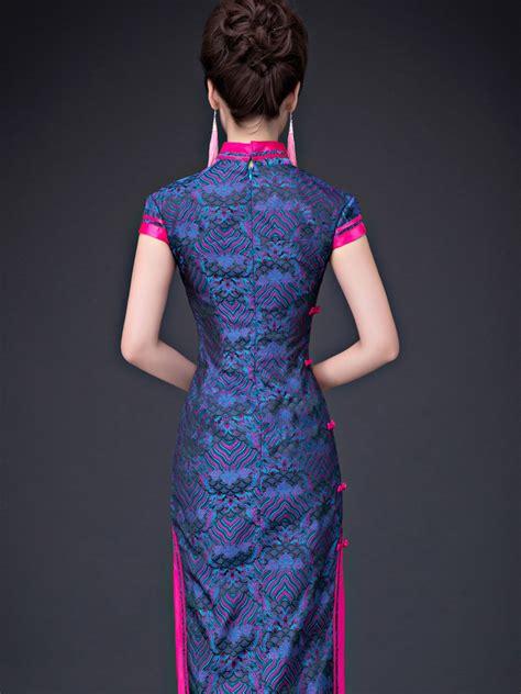 purple folk pattern mandarin collar chinese sheath dress
