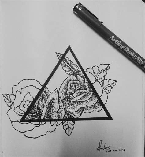 pointellism rose drawing  artline sketch