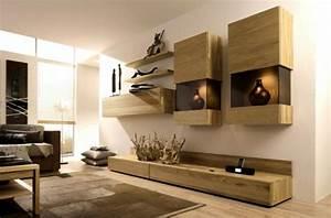 Meuble Salon Bois : le meuble suspendu de salon d core et modernise le salon ~ Teatrodelosmanantiales.com Idées de Décoration