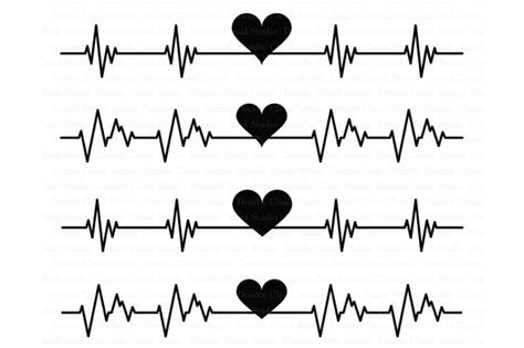 heartbeat svg cardio heart svg files  doodle cloud