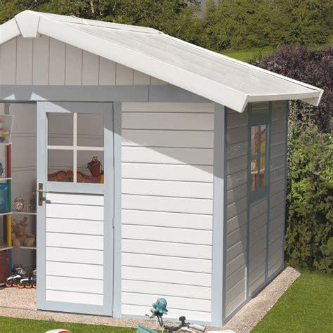 gartenhaus kunststoff grosfillex gartenhaus kunststoff 7 5m 178 deco graublau grosfillex