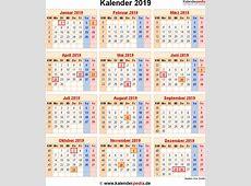 Kalender 2019 mit ExcelPDFWordVorlagen, Feiertagen